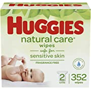 HUGGIES Natural Care Unscented Baby Wipes, Sensitive, 2 Refill Packs (352 Total Wipes)