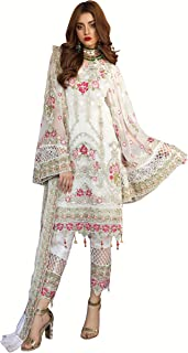 Fabzara Womens Latest White Color Embroidered Pakistani Suit & Set (MF_55002_White)_Semi-Stitched