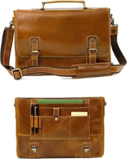 "Leather Messenger Bag For Men RFID Satchel Briefcases w/Wallet, Computer Bag 17"" Laptop"