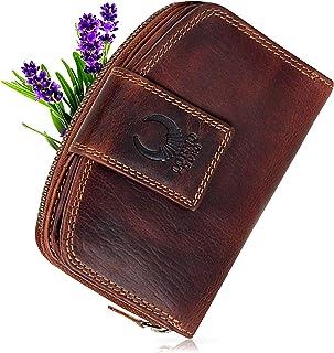 Corno D'oro Cartera de Piel auténtica para Mujer CD23007 con Cremallera y protección RFID, Billetera CD23007 Vintage marrón