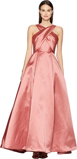 Cross Front Satin Gown