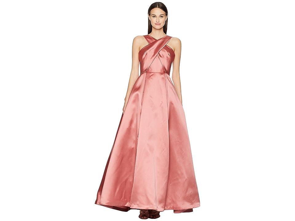 ML Monique Lhuillier Cross Front Satin Gown (Blush Pink) Women