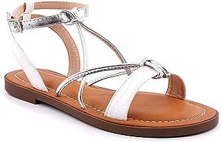 Angkorly - Chaussure Mode Nu-Pieds Sandale Bohème Glamour Chic Femme Effet Peau de Serpent Python Multi-Bride Doré Talon B...