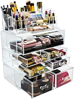 (9-Set Style 2) - Sorbus Acrylic Cosmetics Makeup and Jewellery Storage Case Display Sets -Interlocking Drawers to Create ...