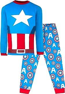 Pijama de Capitán América para niños de 3 a 10 años disponible   Pijama de manga larga de Capitán América   100% algodón Superhéroe Dress Up Costume   Producto oficial   Regalo para niños
