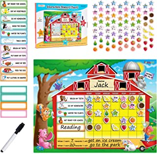 ZazzyKid Chore Chart for Kids with Reward Magnets & Dry Erase Marker – Daily Motivation about Behavior & Responsibility