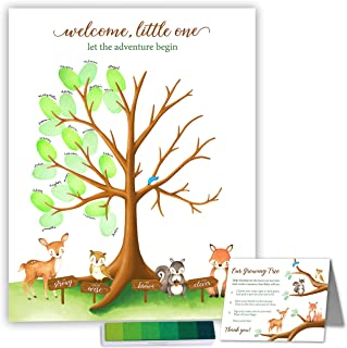 Paper Kit Co. Woodland Creature Baby Shower Fingerprint Tree with Ink Pad. Watercolor Woodland Art Print | 11 x 14 Includes Woodland Babies and Thumbprint Tree