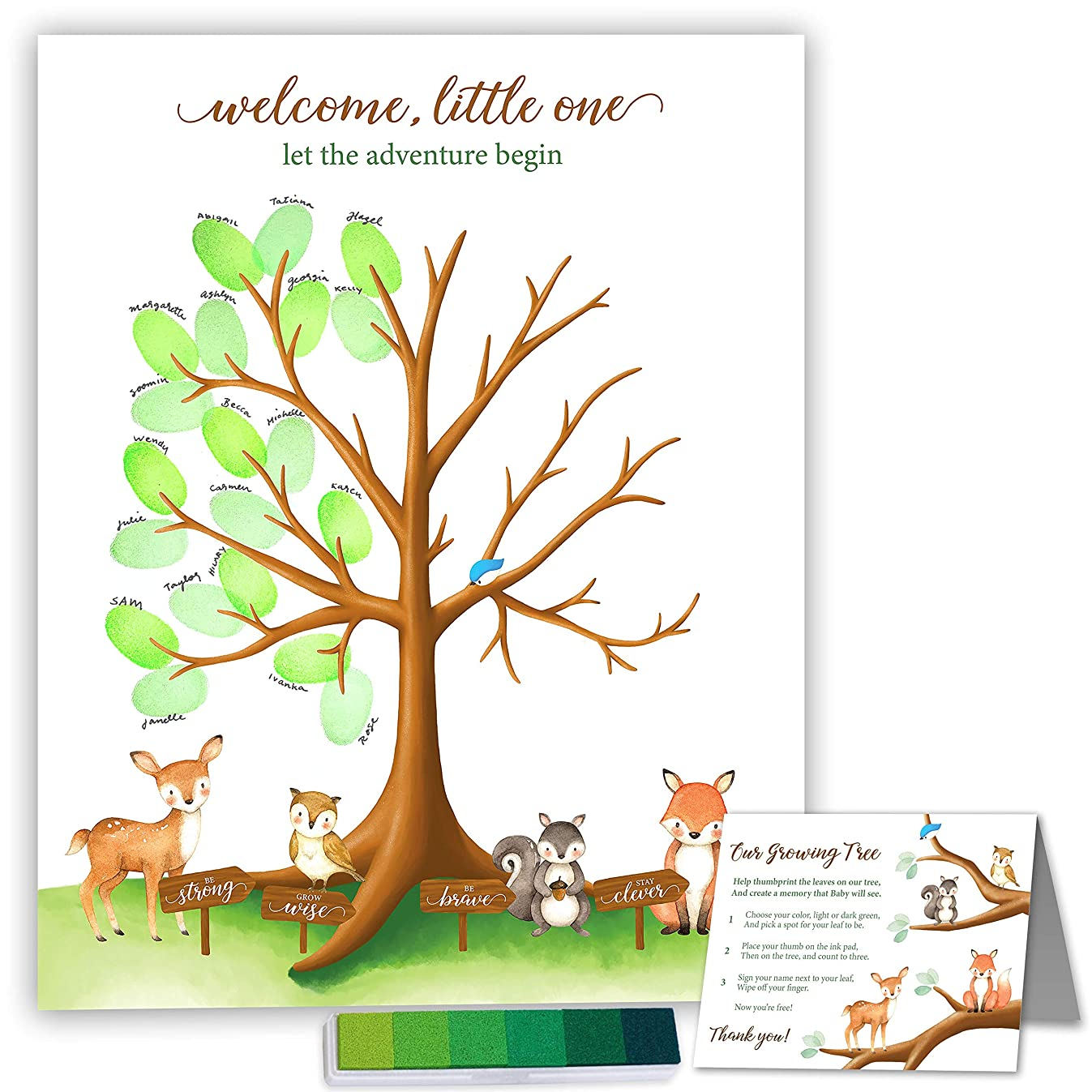 """Paper Kit Co. Woodland Creature Baby Shower Fingerprint Tree with Ink Pad - Framable Watercolor Woodland Art Print   Large 14"""" x 14"""" Includes Woodland Babies and Woodland Thumbprint Tree"""