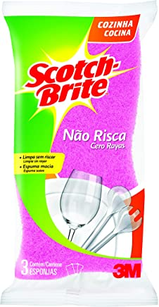 Esponja Não Risca, 3 Unidades, Scotch-Brite, Rosa