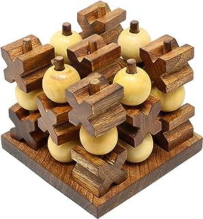 SKAVIJ Wooden Handmade Tic Tac Toe Travel Board Game (Brown)