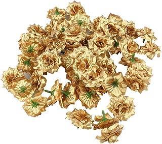 Tinksky Silk Rose Flower Heads for Hat Clothes Album Embellishment,Pack of 50 (Golden)