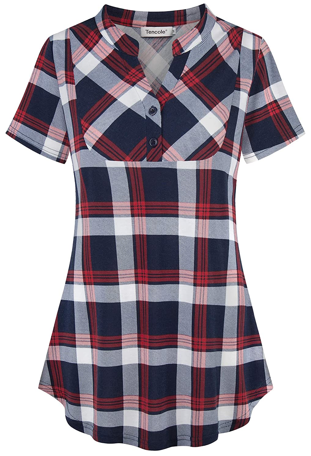 Tencole Womens Notch V Neck Plaid Tunic Shirts Short Sleeve Blouse Office Tops