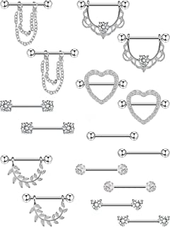 Yaomiao 8 Pairs Stainless Steel Nipple Rings 14 g Body Jewelry Piercing Shiny Tongue Nose Ring Barbell CZ Heart Shape Rings for Women Girls