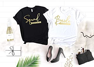 Squad Bachelorette Party Shirts, Soft Crew Neck and V-Neck Customizable Bride Squad T-Shirts For The Bride and Bridesmaids, Gold Graphic and Unique Shirt Colors