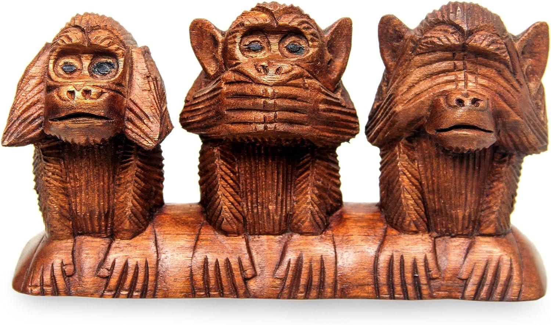 NOVICA 85365  Three Wise Monkeys Wood Statuette