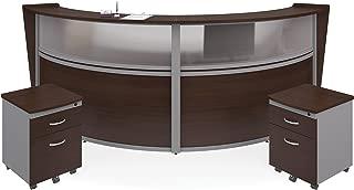 OFM Marque Series Plexi Double-Unit Curved Reception Station - Office Furniture Receptionist/Secretary Desk with Two Walnut Pedestals (PKG-55312-WLNT)