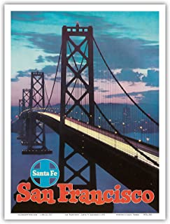 San Francisco - Golden Gate Bridge - Santa Fe Railroad - Vintage Railroad Travel Poster c.1955 - Master Art Print - 9in x 12in