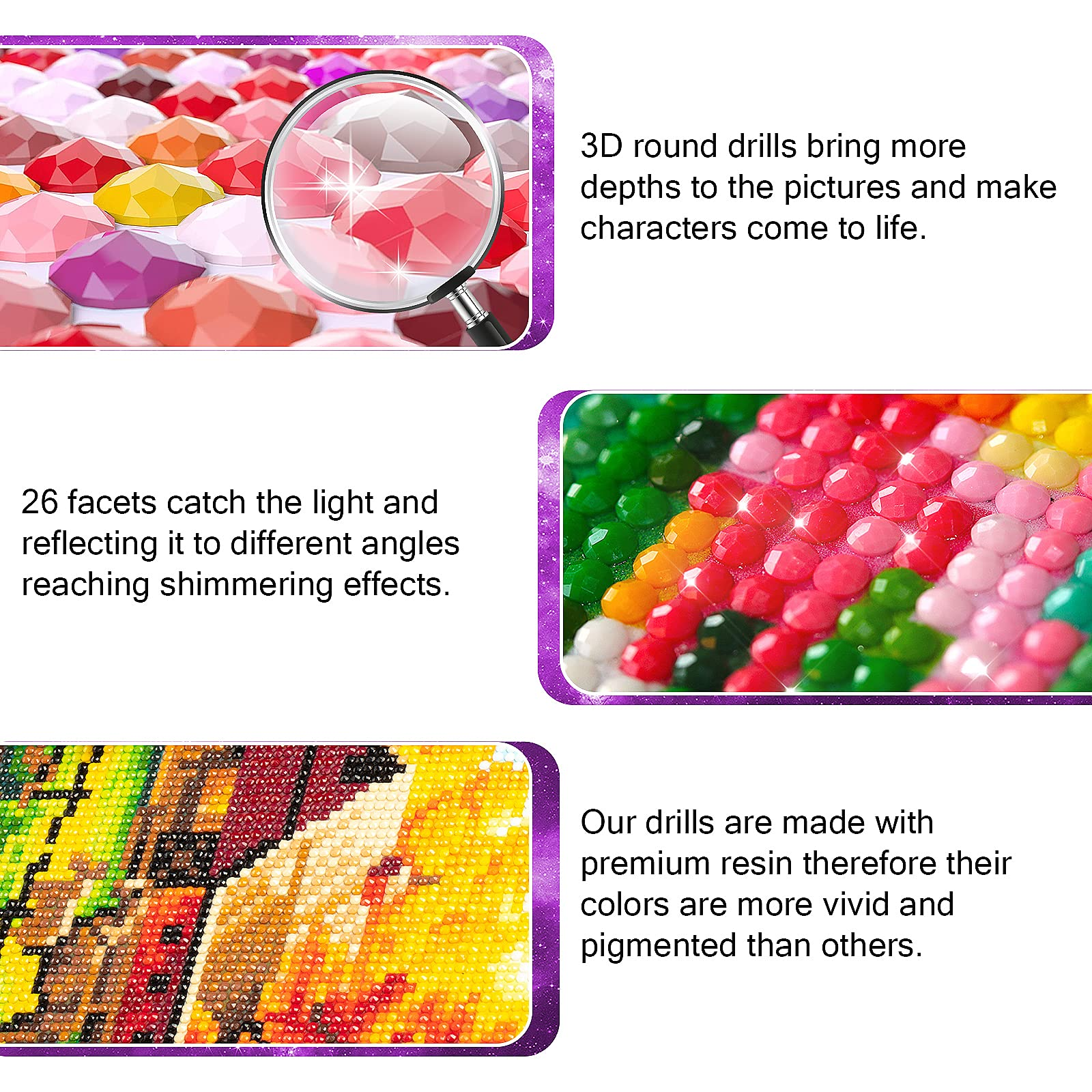 6 Pack DIY 5D Diamond Painting Kits for Adults,Round Full Drill Cartoon Crystal Rhinestone Embroidery Cross Stitch Picture Supplies Arts Craft for Home Wall Decor (12x16inch)