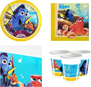 Boys Girls Toddlers Pre School Disney Finding Dory Nemo Birthday Party Complete 37 Piece Tableware Set Under The Sea Fish Plates Cups Napkins Tablecover