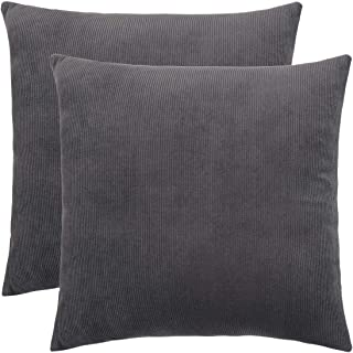PHMLL Set of 2 Pillow Covers Highly Soft Corduroy Striped Both Sides Throw Pillow Covers for Couch Sofa Bed Car 18×18 Inch(45×45Cm) Gray
