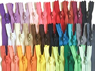 6 Inch Assortment of Colors YKK Zippers Number 3 Nylon Coil Set of 30 Pieces