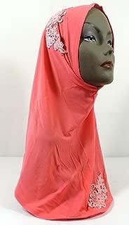 Flower Instant Hijab One Piece Amira Style Lycra Slip On Scarf Shawl Easy (1 - Salmon/Pink)