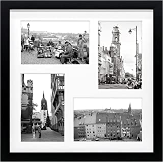 Golden State Art 12x12 Black Wood Frame with White Mat - Displays Four 4x6 Photos - Square Collage Frame - Real Glass, Sawtooth Hanger, Flexible Metal Tabs - Wall Mounting, Landscape, Portrait