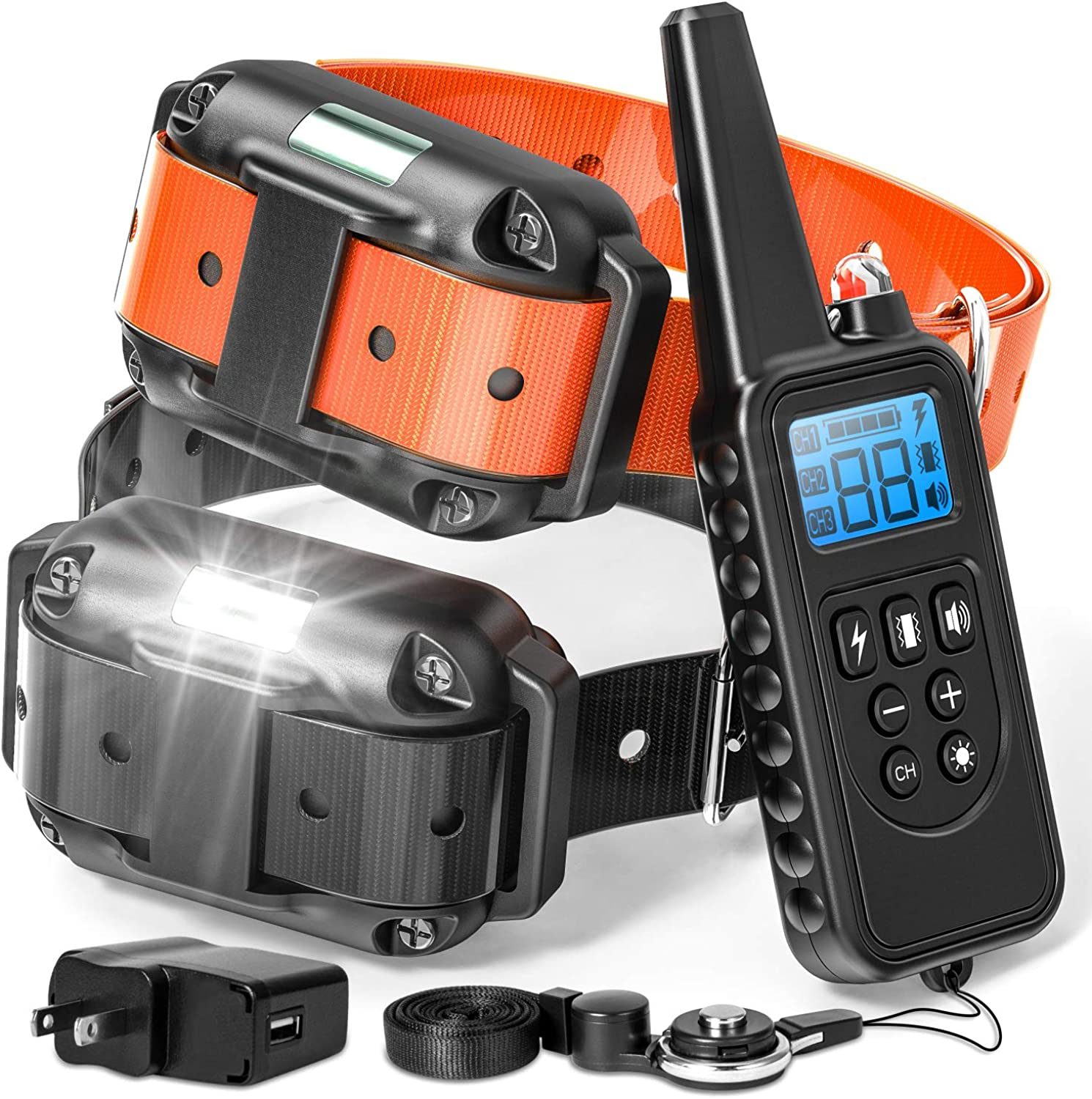 Fcolor Dog Training Collar, 865 Yards Shock Collar for Dogs with Remote for Large Medium Small Dogs, with Light Beep Vibration Shock, Waterproof and Rechargeable Dog Shock Collar for 2 Dogs