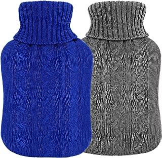 VINTONEY 湯たんぽ 2個セット 容量2.0L ニットカパー付き エコ湯たんぽ 注水式 肩足腹対応 冷え 疲労緩和 暖かい 秋冬寒さ対策 暖房器具(グレー、濃い青)