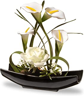 National Tree 11 Inch White Rose and Tulip Flowers with Black Oriental Style Ceramic Base (NF36-5260-1)