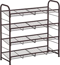 SONGMICS Stackable Shoe Rack, 4-Tier Shoe Rack Storage Organizer, Hold up to 16 Pairs, Steel, 27 x 10.8 x 25.6 Inches, for High Heels, Trainers, Slippers, in the Entryway, Closet, Bronze ULMR067A01