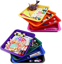 Set of 8 Kids Activity Plastic Tray, Rainbow of Colors, Arts and Crafts Organizer Tray, Serving Tray, Great for Crafts, Be...