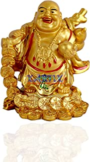 Kartik Feng Shui Laughing Buddha Statues Carrying Money Bag God of Wealth Statue Home Decor, Lucky & Happiness,Housewarming Congratulatory Gifts I 5 inches