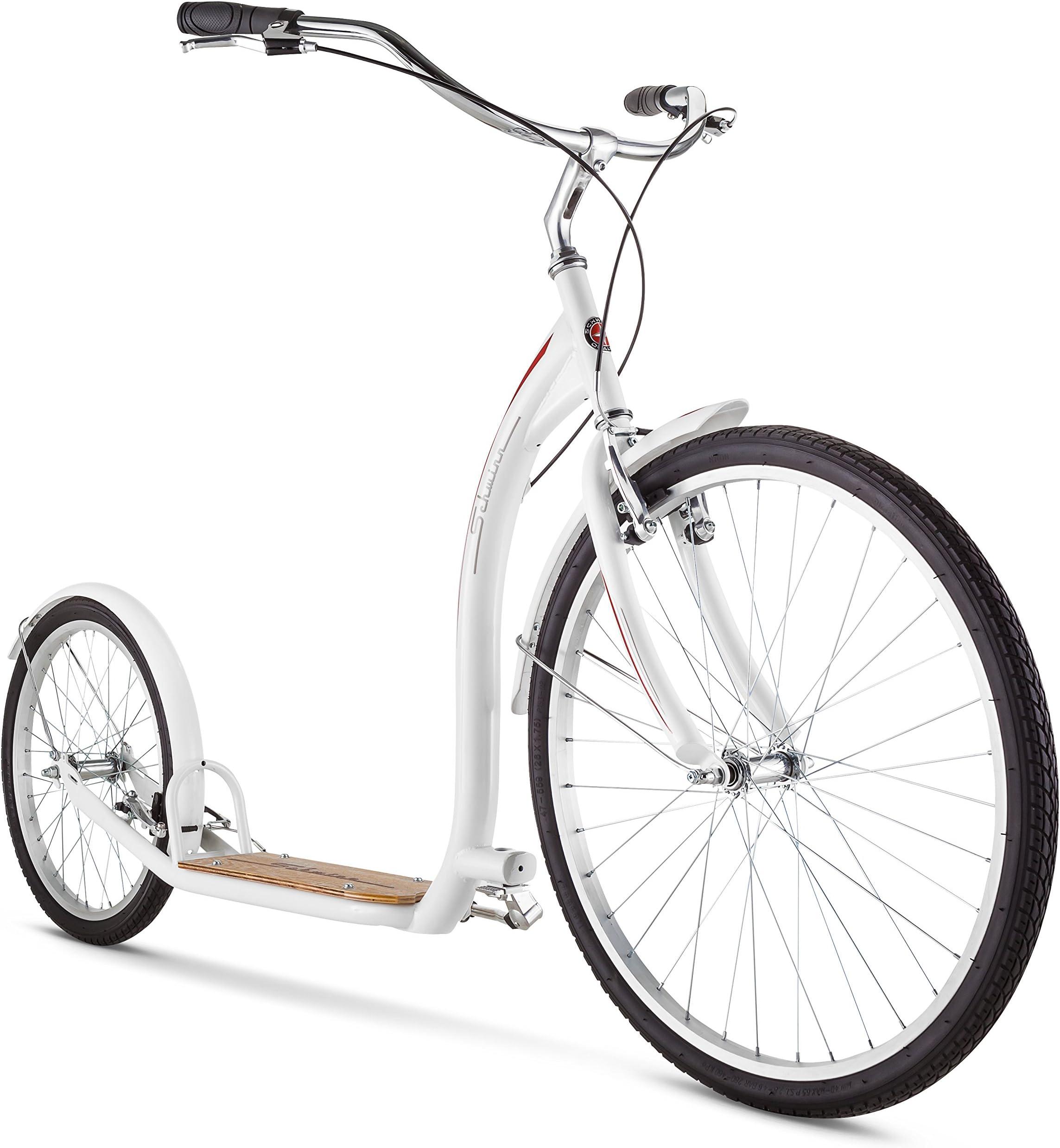 Schwinn Shuffle Adult Scooter, 26-Inch Front Wheel, 20-Inch Rear Wheel, Alloy Linear Pull Brakes, Steel Frame