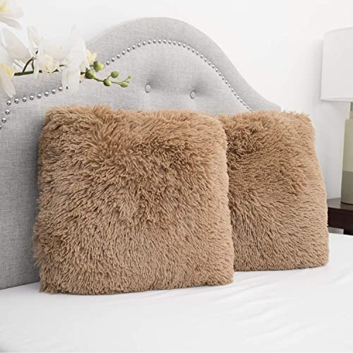 913f9d69810d9 Sweet Home Collection Plush Pillow Faux Fur Soft and Comfy Throw Pillow (2  Pack)