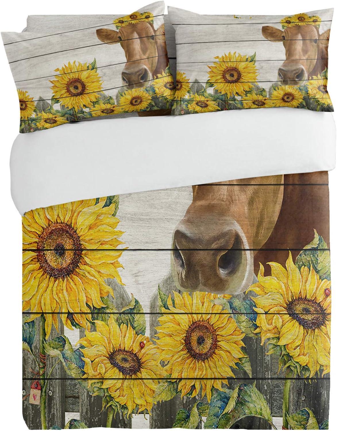SUN-Shine 3PiecesBeddingDuvetCoverSetSunflower OFFicial shop Special Campaign Farm Cow Su
