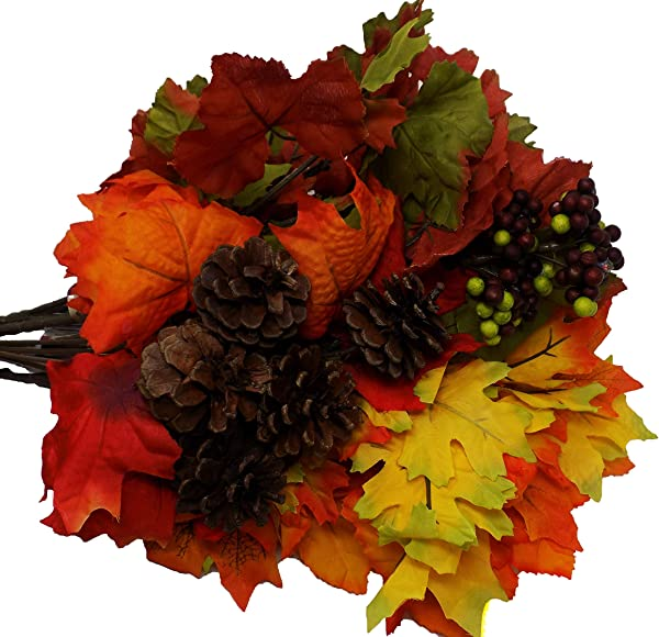 Harvest Fall Leaves With Pine Cone Berry Accent 6 Stem 14in Set Of 5 Leaf Floral Decor Arrangement Craft Wreath