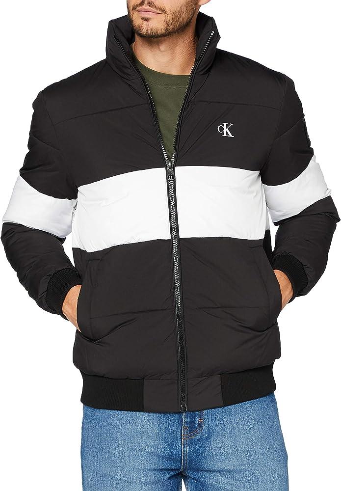 Calvin klein,giacca a palloncino a righe grosse colorate,piumino ecologico in fibra sorona J30J316624