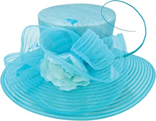ChicHeadwear Womens Sinamay Crown Organza Hat w/Ribbon and Drawstring