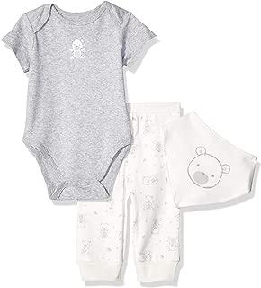 Little Me Baby-Boys LCH08276N 3 Piece Bandana Bib Pant Set Pants Set - Gray