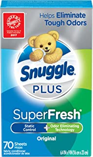 Snuggle Plus Super Fresh Fabric Softener Dryer Sheets with Static Control and Odor Eliminating Technology, Original, 70 Count (Packaging May Vary)