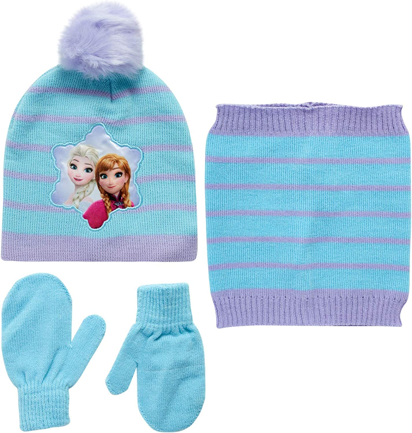 Disney Girls' Minnie Mouse or Frozen Winter Hat, Mittens, and Gaiter Scarf Three Piece Set: Clothing, Shoes & Jewelry