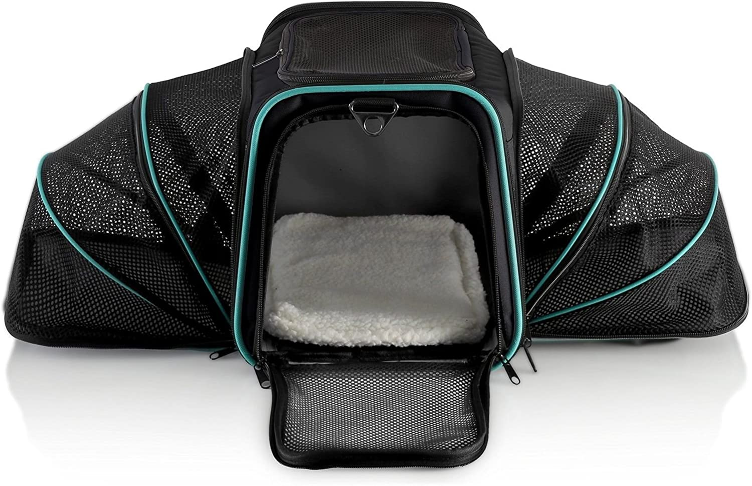 Dual Expandable Pet Carrier with Soft Sided Crate for Small Animals  Airline Approved Pet Carrier with Adjustable Shoulder Strap and Handle for Dogs Cats   Terminal Friendly Carry Bag for PetsGrey