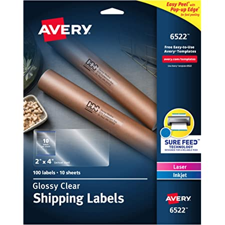 """Avery Glossy Crystal Clear Address Labels for Laser & Inkjet Printers, 2"""" x 4"""", 100 Labels (6522)"""