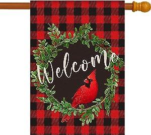 JZMOO Cardinal Christmas Garden Flag,Wreath Welcome House Flag 28 x 40 Inch,Buffalo Check Plaid Winter Yard Flag Double Sided,Rustic Christmas Yard Decorations,Holiday Outdoor Flags
