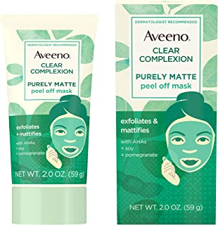 Aveeno Clear Complexion Pure Matte Peel Off Face Mask with Alpha Hydroxy Acids, Soy & Pomegranate for Clearer-Looking Skin...