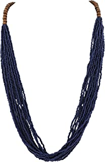 Long Multiple Row Handmade Beaded Statement Necklace with Gift Box