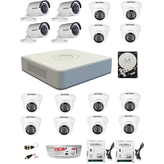 HIKVISION Full HD 2MP Cameras Combo KIT 16CH HD DVR+ 4BULLET Cameras + 12 Dome Cameras+2TB Hard DISC+ Wire ROLL +Supply & All Required CONNECTORS