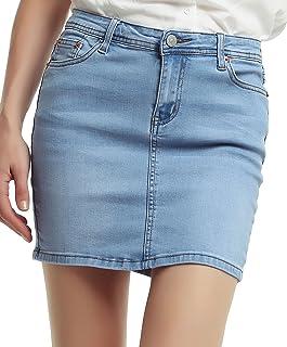 f61b85fb7c Amazon.com: ladies Light Blue Denim Mini Skirt