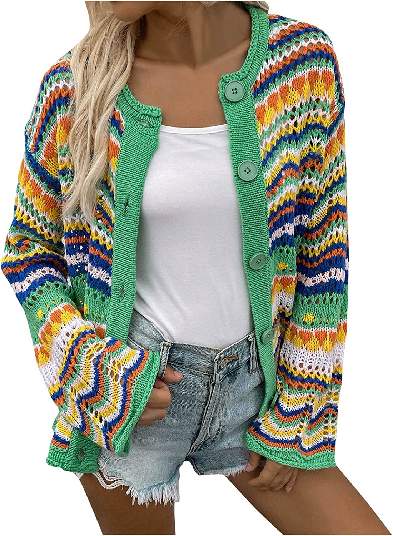 ZDNB 2021 Women V-Neck Buttons Cropped Sweater Tops Slim-fit Tie Dye Stripe Knit Coat Open Front Cardigan Long Sleeve